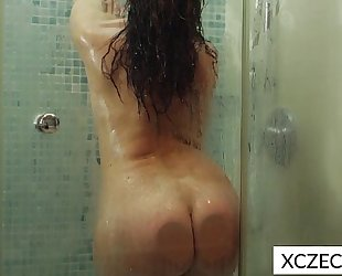 Erotic showering with super sexy milf