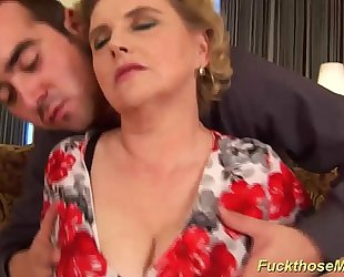 Obese prudish materfamilias gets lascivious fucked