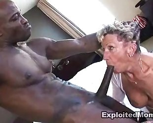 Old granny takes a large dark ramrod in her wazoo anal interracial movie