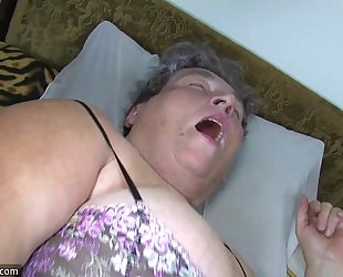 Old bulky mama teaches her obese younger woman masturbating use fake penis