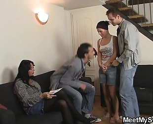 She receives involved into family three-some