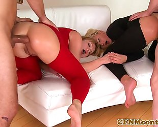 Cfnm chick ivana sugar in anal foursome