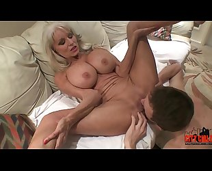 young guy slams his young cock to mature MILF  Sally D'_angelo