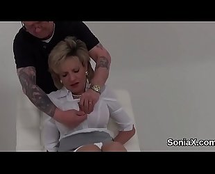 Adulterous british mature lady sonia pops out her oversized breasts