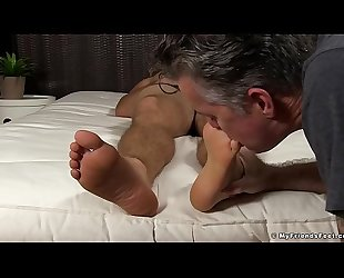 Sleeping hunk feet licked and toe sucked by a mature deviant