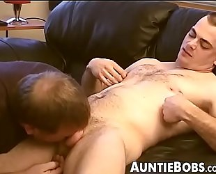 Hairy young dude sucked dry by a mature horny homosexual