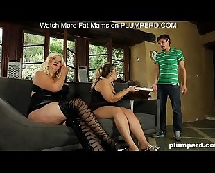 Fat mature mamas abuse the young pizza boy