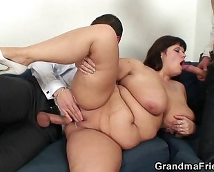 Her old chunky cookie acquires nailed by 2 dicks