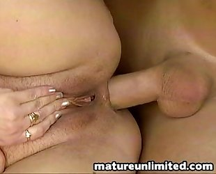 In and out granny receives butt fuck