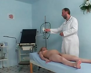 Pregnant cute white bitch riding her gynaecologist's hard prick