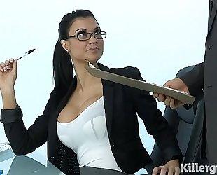 Sexy milf jasmine jae plays the office wench addicted to hard weenie
