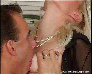 Classy golden-haired european milf coarse sex