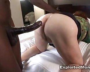 Chubby aged bbw acquires wazoo drilled in interracial anal clip