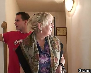 Busty granny is picked up by juvenile guy