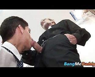 Daddy minister bare fucks his loyal twink subject