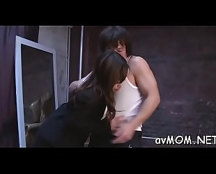 Pretty oriental milf sucks on hard one-eyed monster and her hairy cunt fingered