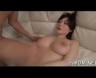 Milf fucks her shaved constricted pussy with dildo and sucks large cock