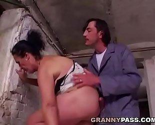 Gradual Granny Prepares For Anal In A Cellar