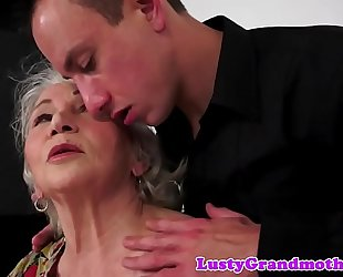 Chubby grandma fucked from behind after bj