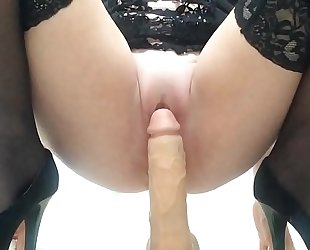 Hear my wet pussy as A I ride my dildo