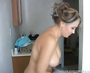 Sexy old spunker shaves her nice-looking cunt and has a worthwhile jerk off