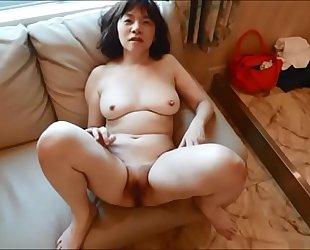 Horny japanese milf Kui Somya moaing fuck and creampie