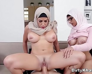 Hot Busty Arab Babes Juliana Vega &_ Mia Khalifa Share A Huge White Cock
