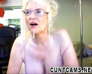 Senior Sucks Dildo and Fake Cum - More at cuntcams.net