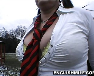 Big a-hole milf in school uniform & nylons