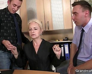 Two chaps fuck granny at work