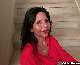 American milf april white teases her nyloned cum-hole