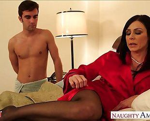 Stockinged mamma kendra longing take dick