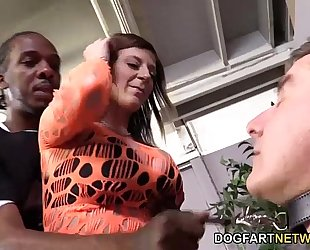 Sara jay copulates a dark wang in font of her cuck-boy