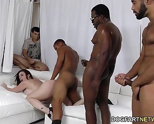 Sara jay receives ganbanged by dark chaps in front of her son