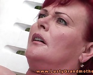 Ginger aged granny fingered outdoors