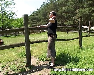 Tall older slutty wife acquires team-fucked by a farm boy