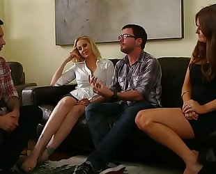 Rough foursome with lewd cougars