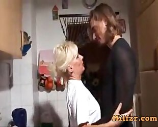 Blonde german mamma and son drilled