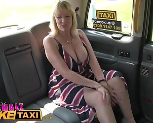 Female fake taxi golden-haired milf cums on hot redheads tongue