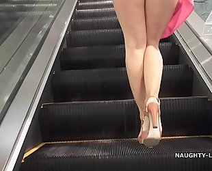 No pants shopping public flashing upskirt