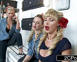 World war ii wives nikki benz, abbey brooks & phoenix marie getting soaked