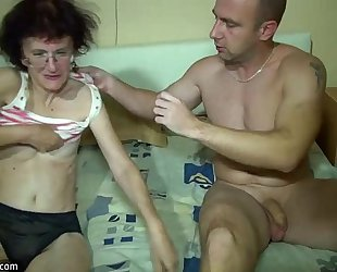 Young slutwife and old granny have joy in washroom