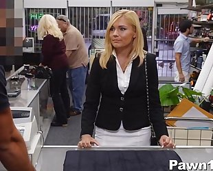 Mature slutty wife team-fucked at pawn shop