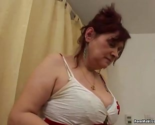 Busty unshaved granny receives group-fucked