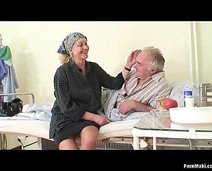 Granny watches grand-dad copulates nurse in hospital