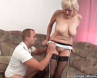 Grandma in nylons acquires a facial