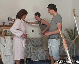 Naughty granny swallows 2 youthful knobs