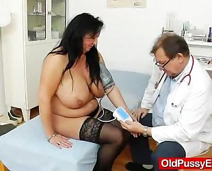Adult toy in cum-hole during a hotwife gyno