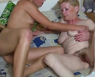 Oldnanny granny with curly bawdy cleft, juvenile BBC slut, and toys