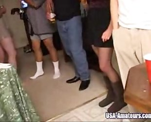 Amateur american cuckold white wife receives group-fucked at intimate party by husbands allies